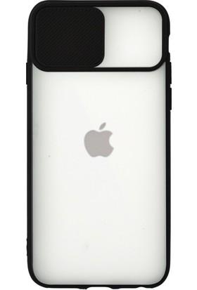 Vefa iPhone 6/6s Kapak Lensi Açılır Kapanır Kamera Korumalı Silikon Kılıf - Siyah