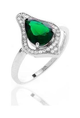 Glint Point Yeşil Damla Taşlı Zarif Gümüş Yüzük