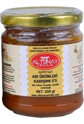 Altunay Arı Ürünleri Karışımı 5'li (Bal,polen,propolis,arısütü,arıekmeği) 200 gr