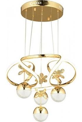 Burenze Luxury Modern Sarkıt Toplu Kelebekli LED Avize Gold Sarı BURENZE672