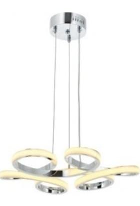 Burenze Modern Sarkıt LED Avize Krom Kademeli 3 Renk Küçük Boy 50 cm Çap BURENZE648