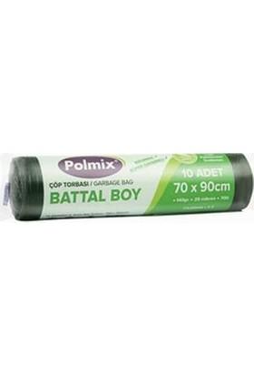 Polmix Çöp Poşeti Battal Boy 140 gr 70 x 90 25 Mikron Siyah 1 Koli 24 Paket