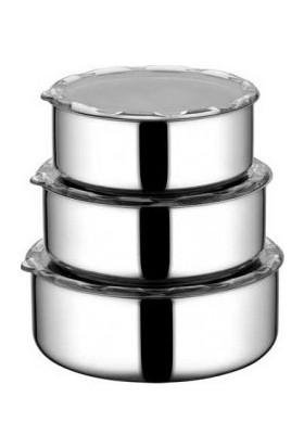 Voiva Paslanmaz Çelik Saklama Kabı 3'lü Set Kapaklı Gıda Saklama Koruma Kabı