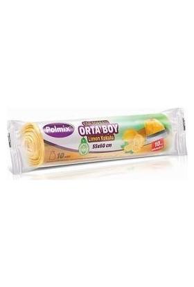 Polmix Büzgülü Çöp Poşeti Orta Boy Gram 55 x 60 Mikron Limon Kokulu Sarı 1 Paket
