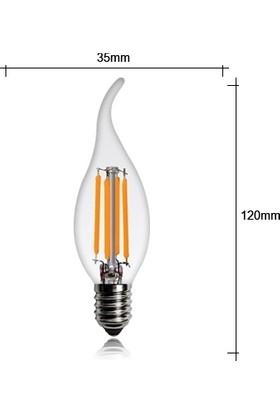 Heka ERD36 Kıvrık Mum Edison Flamanlı Rustik LED Ampul 8 Watt