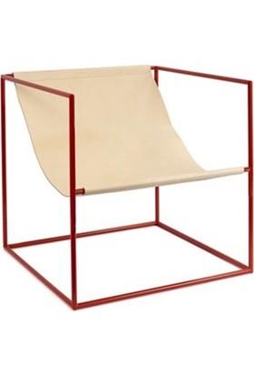 Sohomanje Gerçek Deri Küp Metal Sandalye Kırmızı