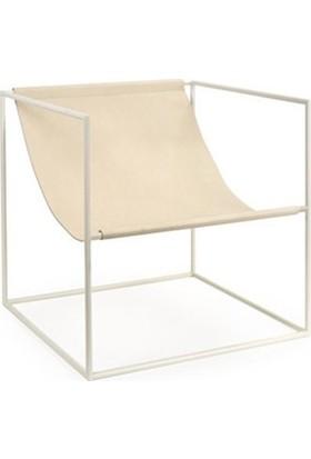 Sohomanje Gerçek Deri Küp Metal Sandalye Krem