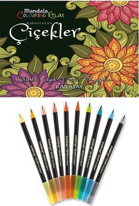 Mandala Boyama Kitabı + Edding 1340 Fırça Uçlu Keçeli Kalem 10 Renk