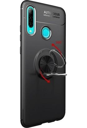 SmartBerry Huawei P30 Lite Kılıf Ravel Soft Yüzüklü Standlı + Nano Ekran Koruyucu - Kırmızı - Siyah