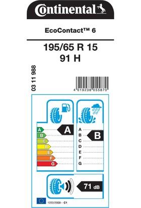 Continental 195/65 R15 91H EcoContact 6 Oto Yaz Lastiği ( Üretim Yılı: 2021 )