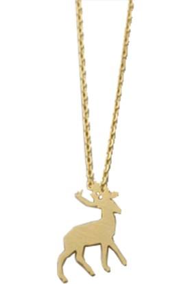 Takı Store Noel Babanın Minik Geyiği Gümüş Kolye Gold Rengi