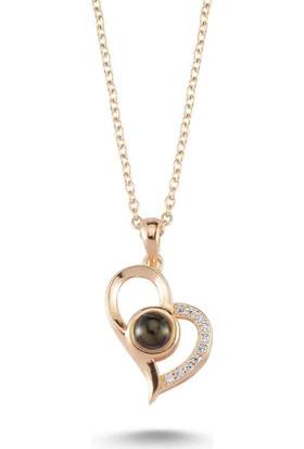 Bulvardi Kalpli Kedi Gözü Taşlı Kolye - Rose - Standart - BLC0001-1097