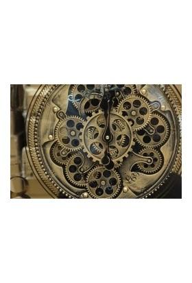 Crown Well Metalik Çarklı Duvar Saati Sarıoksit