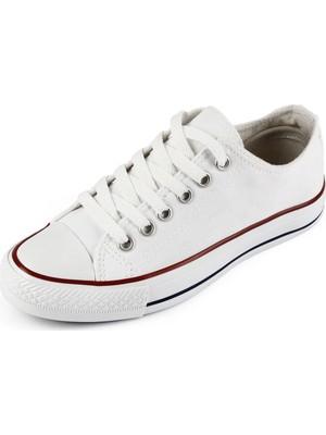 Gönderi® Bağcıklı Kadın Keten Günlük Spor Düz Taban Sneaker 35222