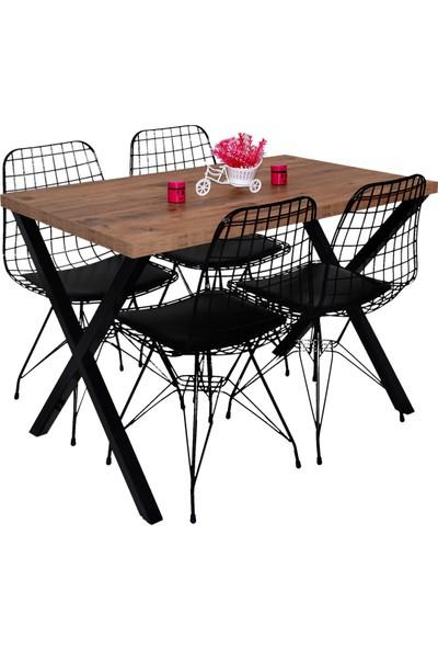 Hedef Masa Sandalye Takımı x Ayaklı Masa 4 Adet Tel Sandalye