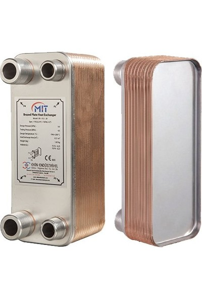 Mit Mb-01 - 24 Plaka Kaynaklı Plakalı Isı Eşanjör Bağlantı 3/4- 1/2 Kapasite 440LITRE/SAAT