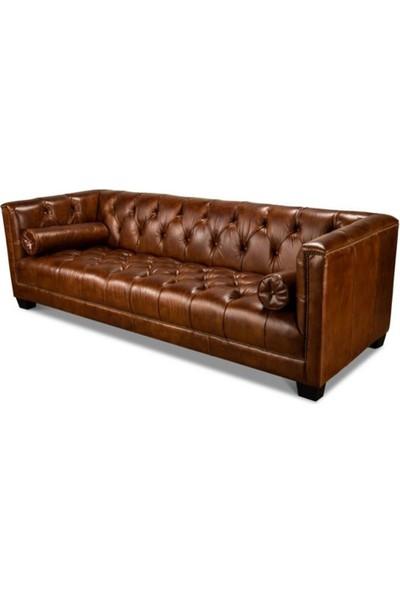 3A Mobilya 3A Leather Dark Hardwood Kanepe