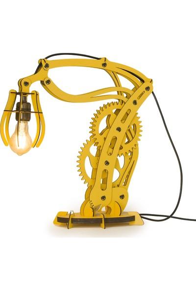 Woodact Larix Mekanik Ahşap Hareketli Masa Lambası Sarı