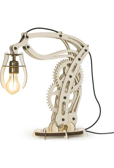 Woodact Larix Mekanik Ahşap Hareketli Masa Lambası Bej