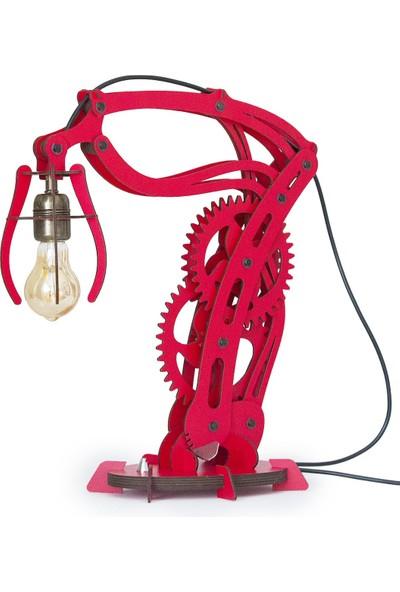 Woodact Larix Mekanik Ahşap Hareketli Masa Lambası Kırmızı