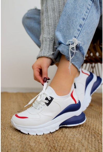 Limoya Sharon Beyaz/Mavi Streç Sneakers