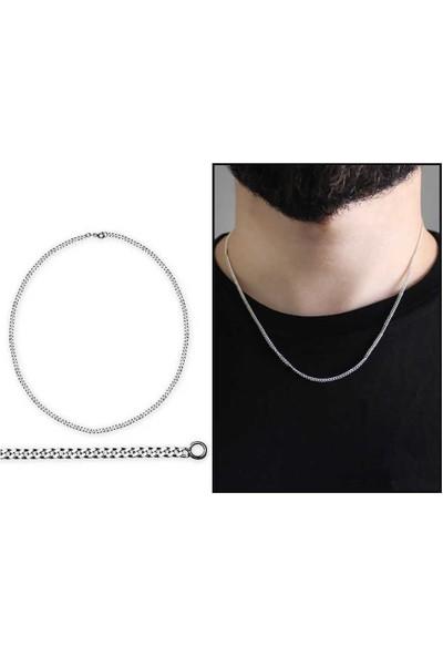 Takılingo 925 Ayar Gümüş 50 cm 60 Mikron Gurmet gümüş Erkek Zincir Kolye