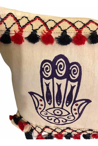 Heybelioda Keten Fatma'Nın Eli Desen El Boyama Özel Tasarım Dekoratif Yastık Kırlent Kılıfı