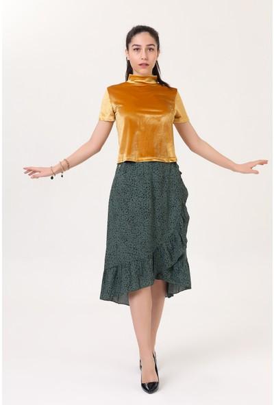 Harmoni Fashion Kadın Hardal Balıkçı Yaka Kadife Bluz