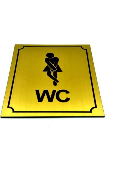 Se-Dizayn Wc Tuvalet Tabelası Bayan Altın Yönlendirme Levhası 10 cm x 12 cm