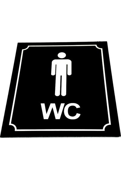 Se-Dizayn Wc Tuvalet Tabelası Bay Siyah Yönlendirme Levhası 10 cm x 12 cm