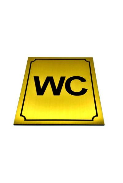 Se-Dizayn Wc Tuvalet Tabelası Altın Renk,yönlendirme Levhası 10 cm x 12 cm