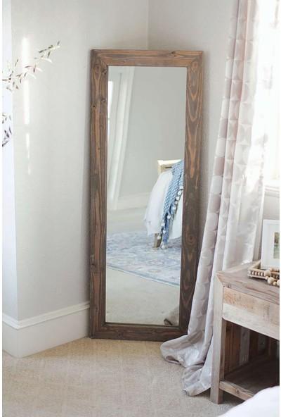 Dfn Wood Masif Ahşap Dikdörtgen Dekoratif Duvar Salon Ofis Aynası