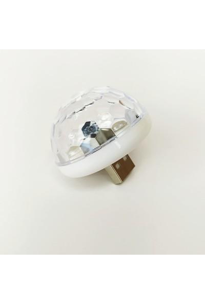 Arcars Müziğe ve Sese Duyarlı USB Girişli Araç Içi Mini Disko Topu Parti Telefon, Mikrofon, Bilgisayar, Oto Teyp Uyumlu
