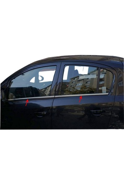 Blue Opel Corsa D (2007-2015) Krom Cam Çıtası Paslanmaz Çelik 4 Parça Blue-Oto