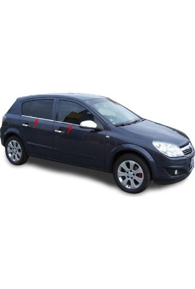 Blue Opel Astra H Kasa Hb (2004-2012 ) Paslanmaz Krom Cam Çıtası 4 Parça Blue-Oto