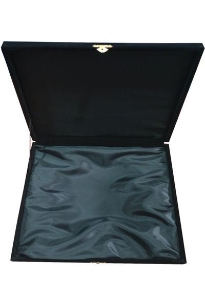 Nkk 35 Cm'lik Siyah Kadife Çini Tabak Kutusu