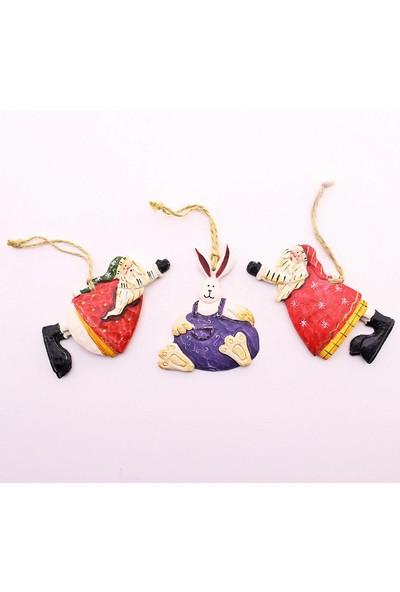 Deco Elit 3 Adet Yılbaşı Çam Ağacı Süsü Tavşan ve Noel Baba Dekoru