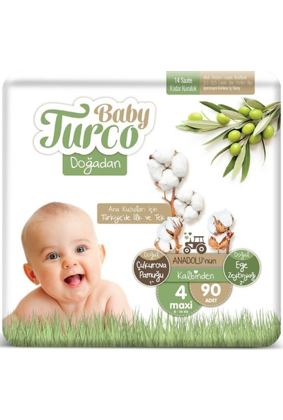 Baby Turco Doğadan 4 Numara Maxi 8-14 kg 90 'li