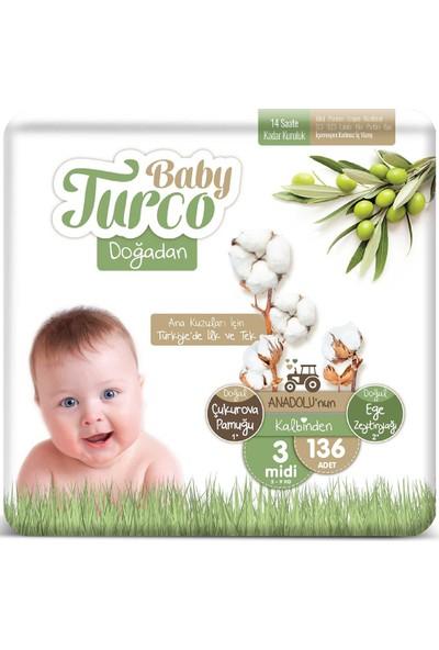 Baby Turco Doğadan 3 Numara Midi 5-9 kg 136 'li
