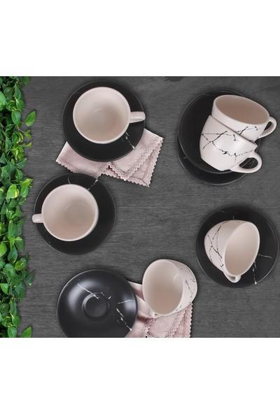 Keramika Mat Renkli Çay Nescafe Takımı 6 Kişilik 12 Parça