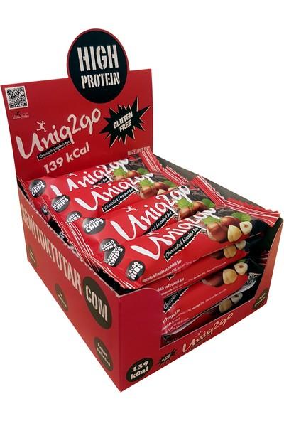 UNIQ2GO Chocodark Fındıklı Bitter 16'lı Kutu 38G Protein Bar