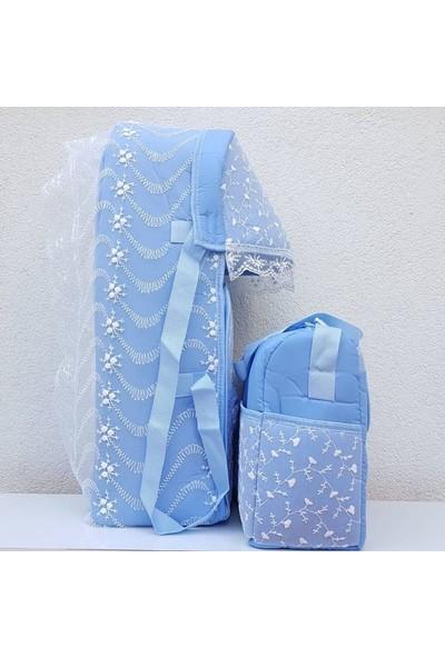 Bebek Odam Dantelli Lüks 2 Li Erkek Bebek Taşıma Seti - Mavi
