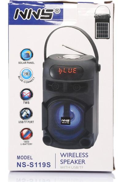 Nns Güneş Enerjili Radyo Taşınabilir Bluetooth Hoparlör Nns NS-S119S