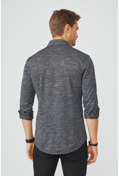Avva Erkek Siyah Jakarlı Alttan Britli Yaka Slim Fit Örme Gömlek A02Y2150