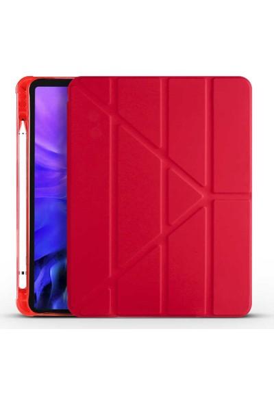 Evastore Apple iPad 10.2 (8.nesil) Kılıf Tri Folding Smart With Pen Standlı Kılıf Kırmızı