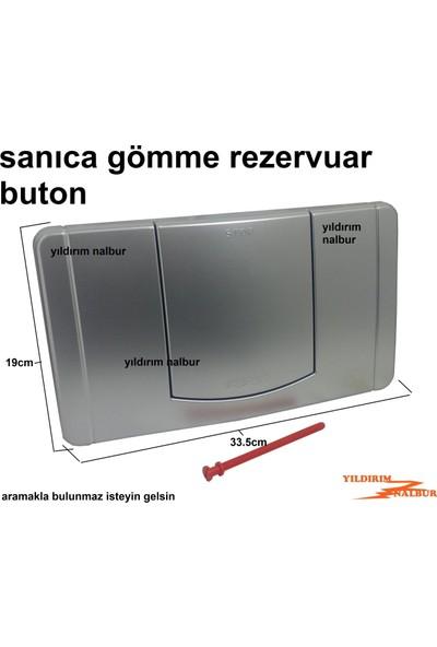 Sanica Gömme Rezervuar Buton Düğmesi Sanıca Tek Büyük Düğme Gri Renk Büyük Buton Tek Basmalı