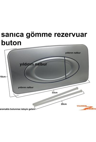 Sanica Gömme Rezervuar Buton Düğmesi Çiftli Gri Renk Sanıca Büyük Buton