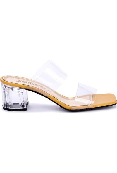 Ayakland 6470-06 Cilt Şeffaf 7 cm Topuk Kadın Sandalet Ayakkabı