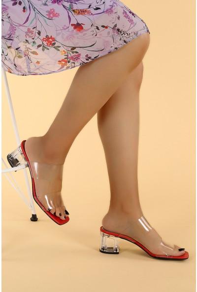 Ayakland 6470-06 Cilt Şeffaf 7 cm Topuk Kadın Sandalet Ayakkabı Kırmızı