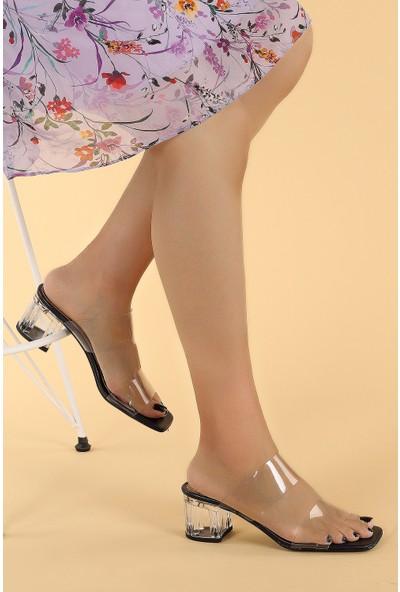 Ayakland 6470-06 Cilt Şeffaf 7 cm Topuk Kadın Sandalet Ayakkabı Lacivert